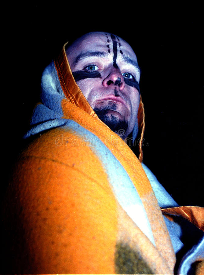 Techno rave party make up. Make up in a techno rave party. Vintage photo taken in 1997 stock photography