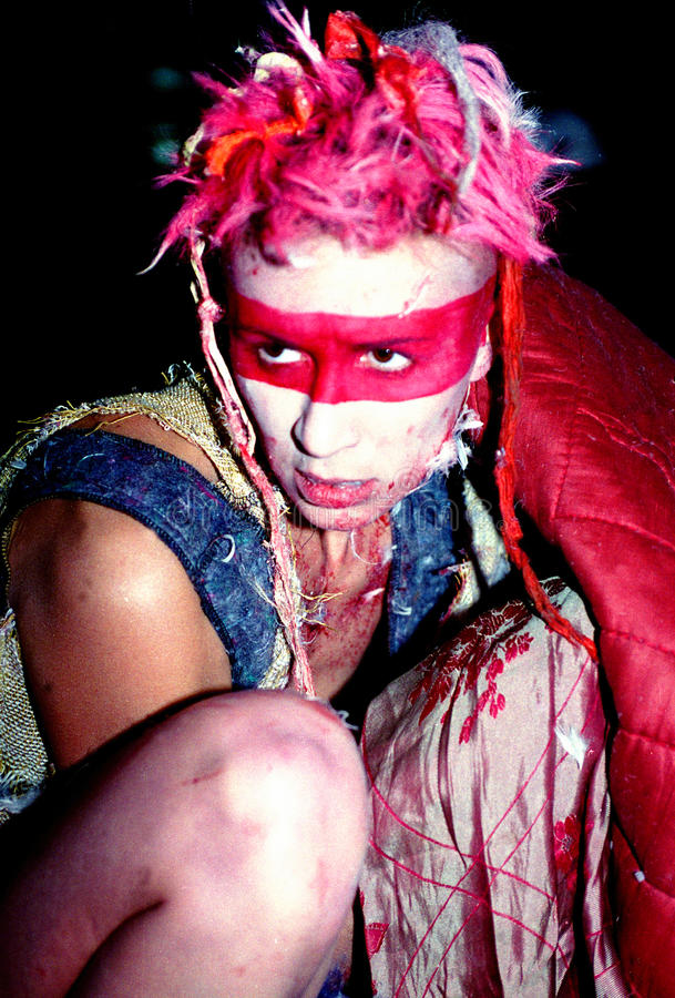 Techno rave party make up. Make up in a techno rave party. Vintage photo taken in 1997 royalty free stock image