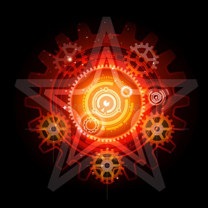 Techno rougeoyant engrène le pentagram illustration stock