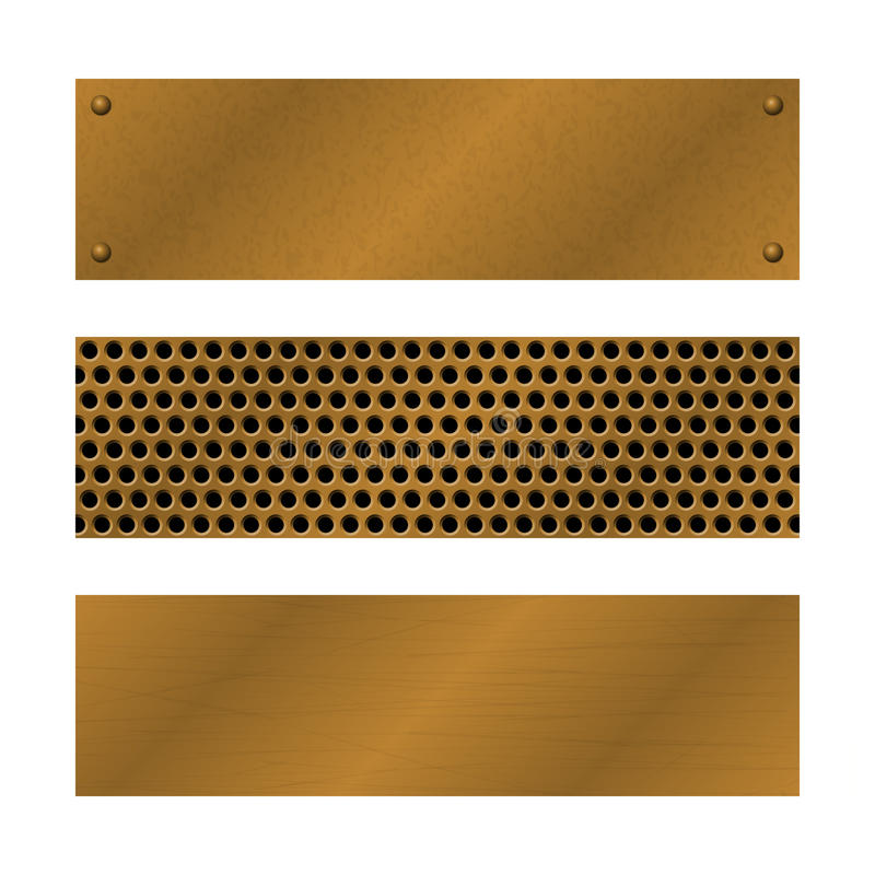 Techno vector banners. Brushed Brass, copper latticed surface template. Abstract industrial illustration for web. Engineering, construction. Perforated Metal vector illustration