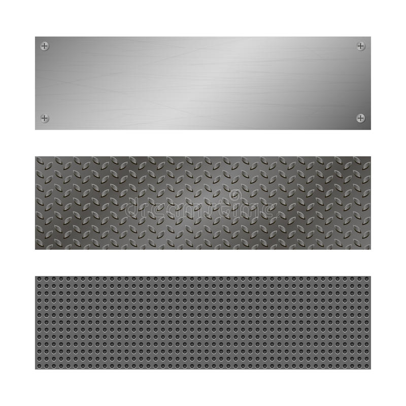 Techno vektorbaner Perforerad metallbakgrund med plattan och nitar metallisk textur för grunge Grå mall för rengöringsduk stock illustrationer