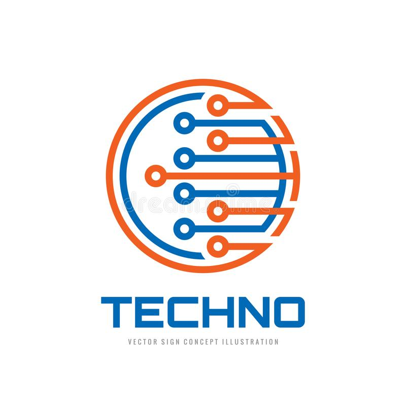 Techno - wektorowa loga szablonu pojęcia ilustracja Komputerowego elektronicznego układu scalonego kreatywnie znak Nowożytny tech royalty ilustracja