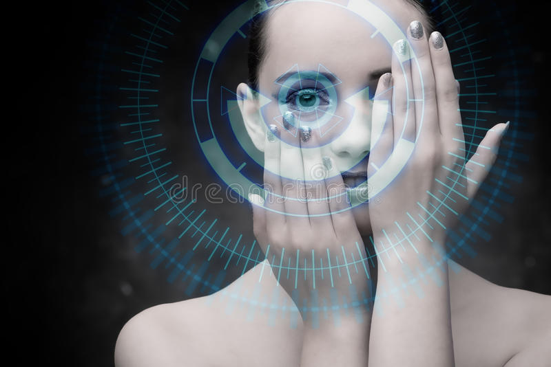The techno woman in futuristic concept. Techno woman in futuristic concept stock photography