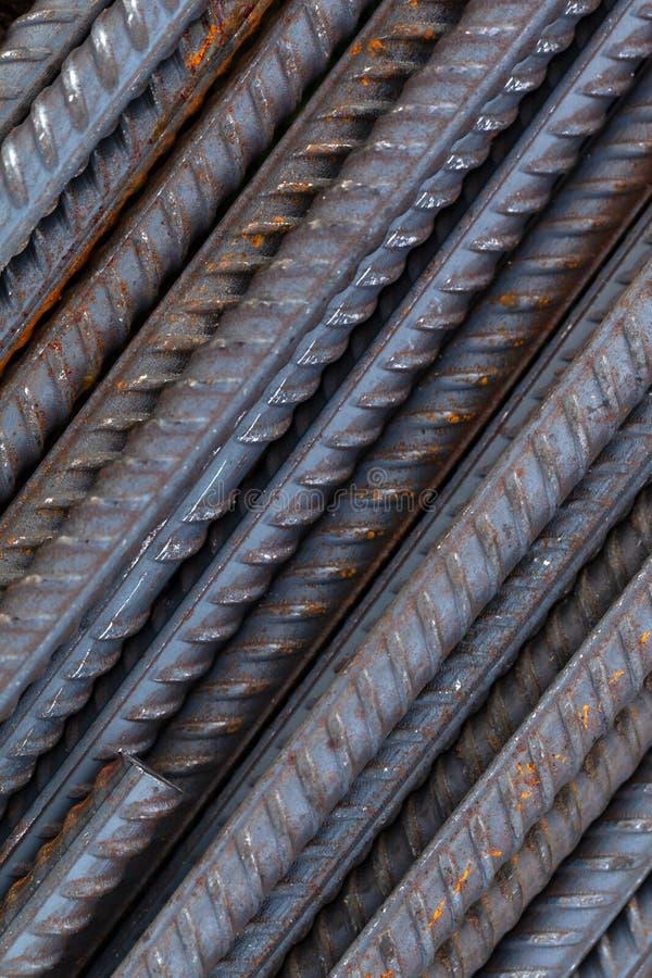 Technogenic background of metal armature bars.  stock photos