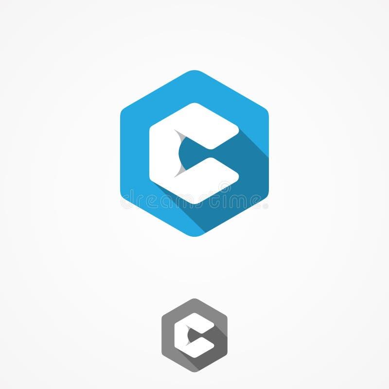 Technologia biznesowego korporacyjnego listu c projekta wektorowy symbol z sześciokąta tłem royalty ilustracja