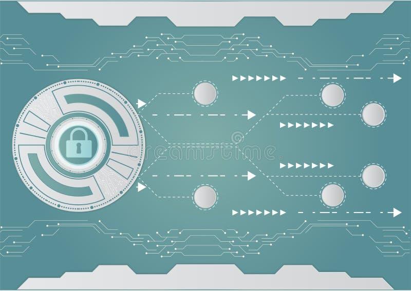 Technologia cyfrowa i infographic dla biznesowego pojęcia na błękitnym tle również zwrócić corel ilustracji wektora ilustracji