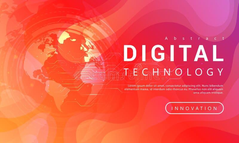 Technologia cyfrowa sztandaru tła czerwony pomarańczowy pojęcie z światowymi lekkimi skutkami royalty ilustracja