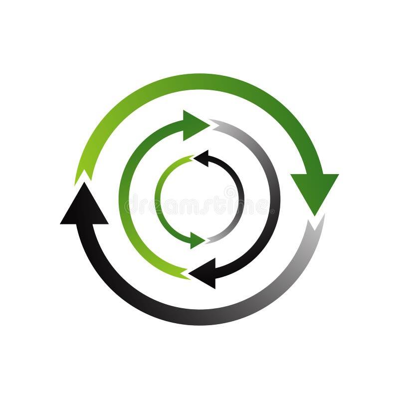technologia ekologiczna kreatywna koncepcja logo recyklingu 3d royalty ilustracja