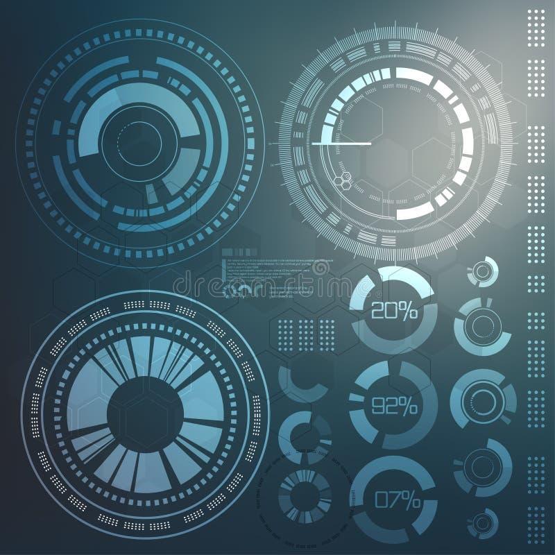 Technologia element Technologiczny tło z różnorodnymi technologicznymi elementami techno ilustracja ilustracja wektor