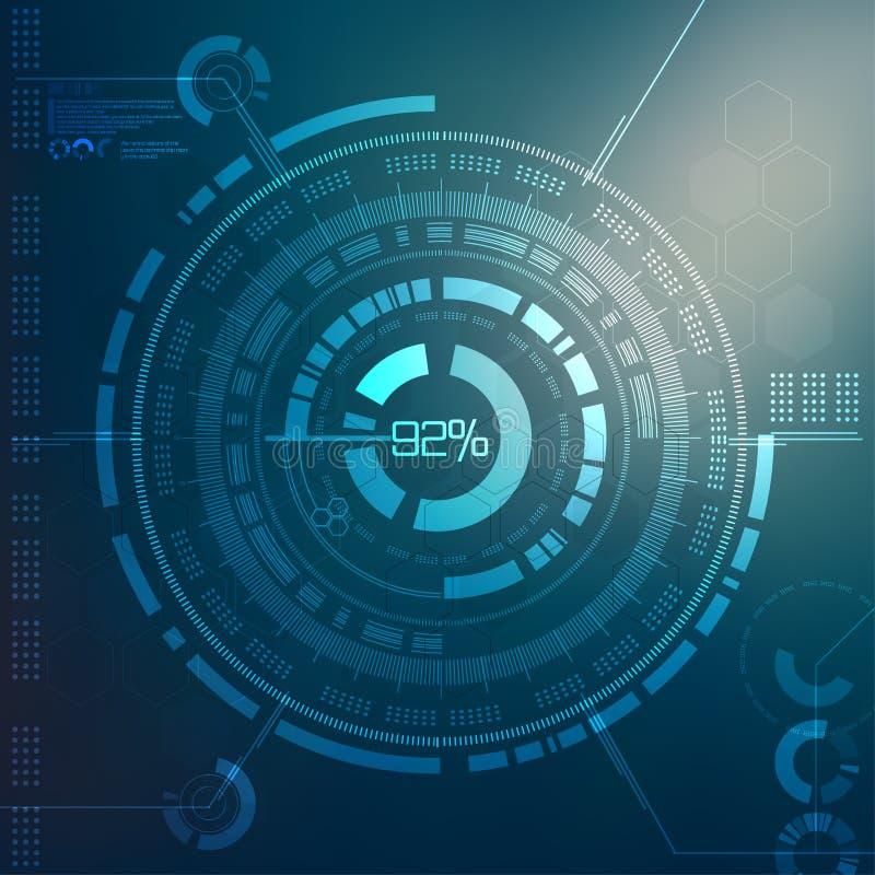 Technologia element Technologiczny tło z różnorodnymi technologicznymi elementami techno ilustracja ilustracji