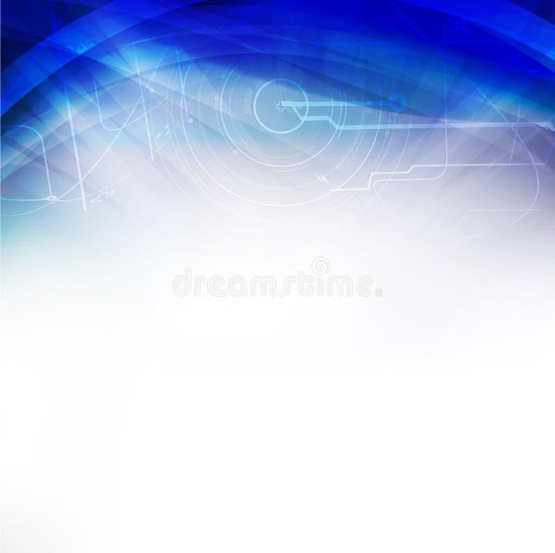 Technologia futurystycznego zawijasa błękitny tło, ilustracja ilustracji