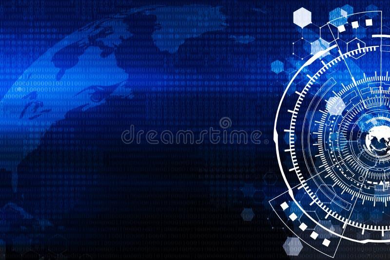 Technologia i na całym świecie podłączeniowy tła pojęcie w błękitnym t ilustracji