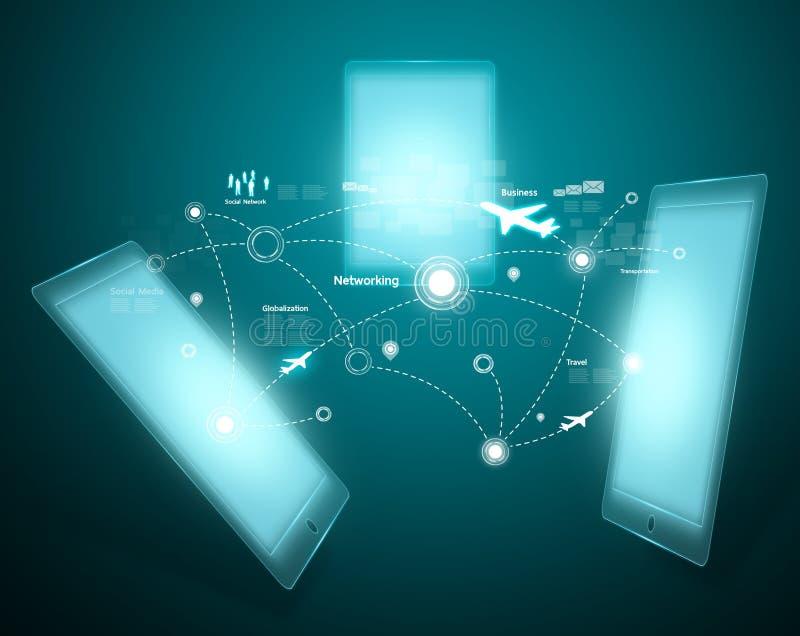 Technologia i socjalny sieć royalty ilustracja