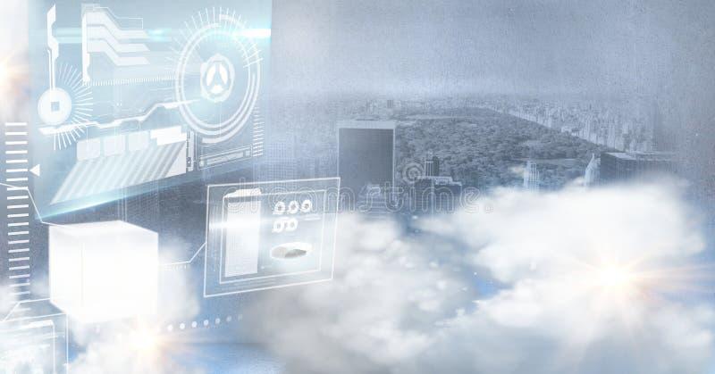 technologia interfejs przed miastem ilustracja wektor