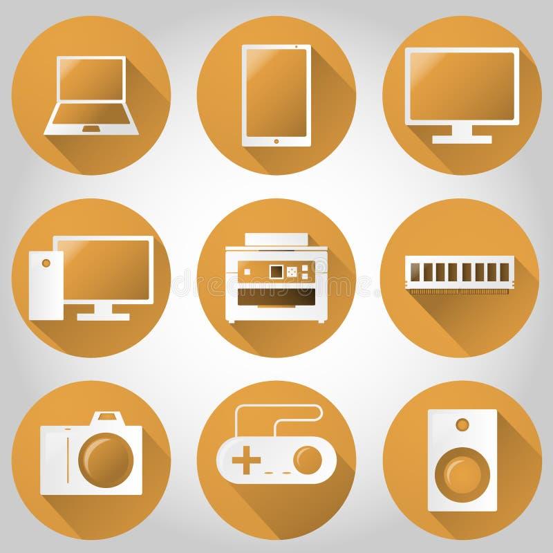 Technologia, komputer, urządzenia elektroniczne i multimedialny Kolorowy Płaski ikona projekt, Szablonów elementy dla sieci Appli royalty ilustracja