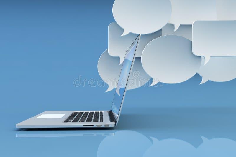 Technologia komunikacyjna, ogólnospołeczny networking, internet i online przesyłanie wiadomości pojęcie, ilustracji