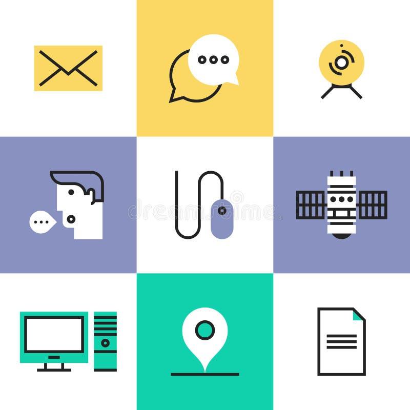Technologia komunikacyjna piktograma ikony ustawiać ilustracji