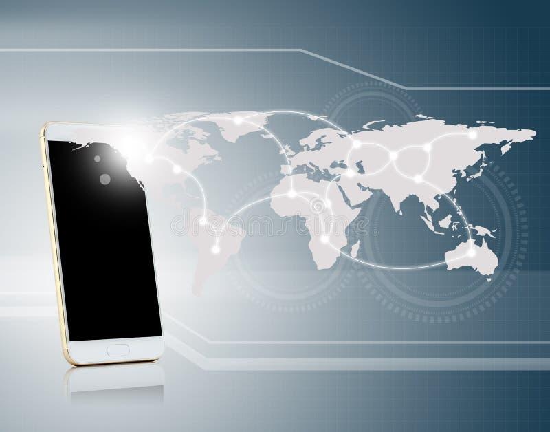 technologia komunikacyjna z telefonu komórkowego związku siecią royalty ilustracja