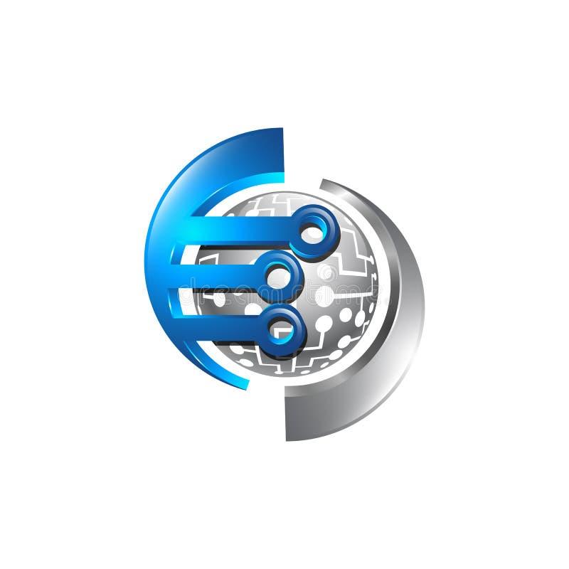 Technologia logo, globalnego elektronicznego logo wektorowy szablon, kula ziemska a ilustracji