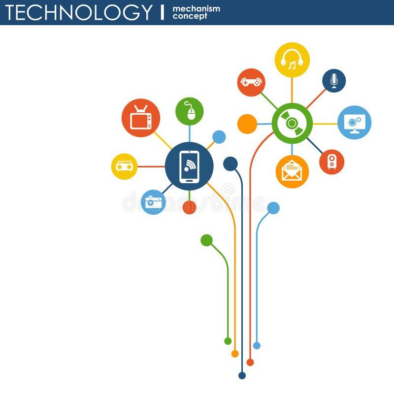 Technologia mechanizmu pojęcie Abstrakcjonistyczny tło z zintegrowanymi przekładniami i ikonami dla cyfrowego, strategia, interne royalty ilustracja