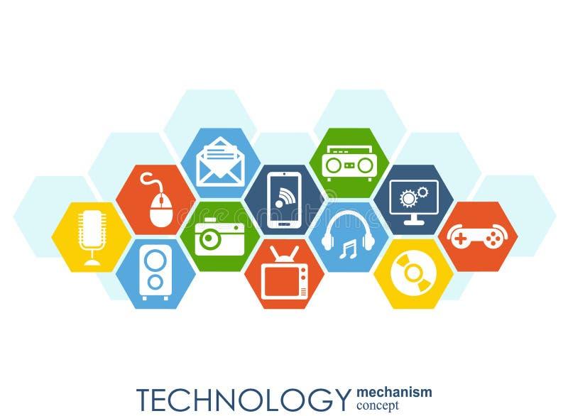 Technologia mechanizmu pojęcie Abstrakcjonistyczny tło z zintegrowanymi przekładniami i ikonami dla cyfrowego, strategia, interne ilustracji
