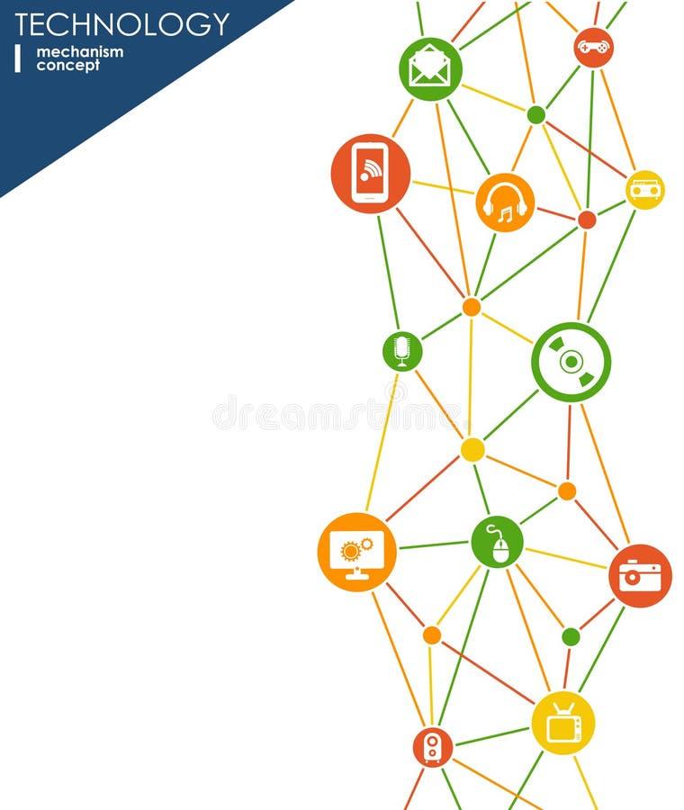 Technologia mechanizmu pojęcie Abstrakcjonistyczny tło z zintegrowanymi przekładniami i ikonami dla cyfrowego, strategia, interne ilustracja wektor