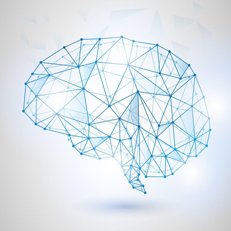 Technologia Niski Poli- projekt ludzki mózg z Binarnymi cyframi royalty ilustracja