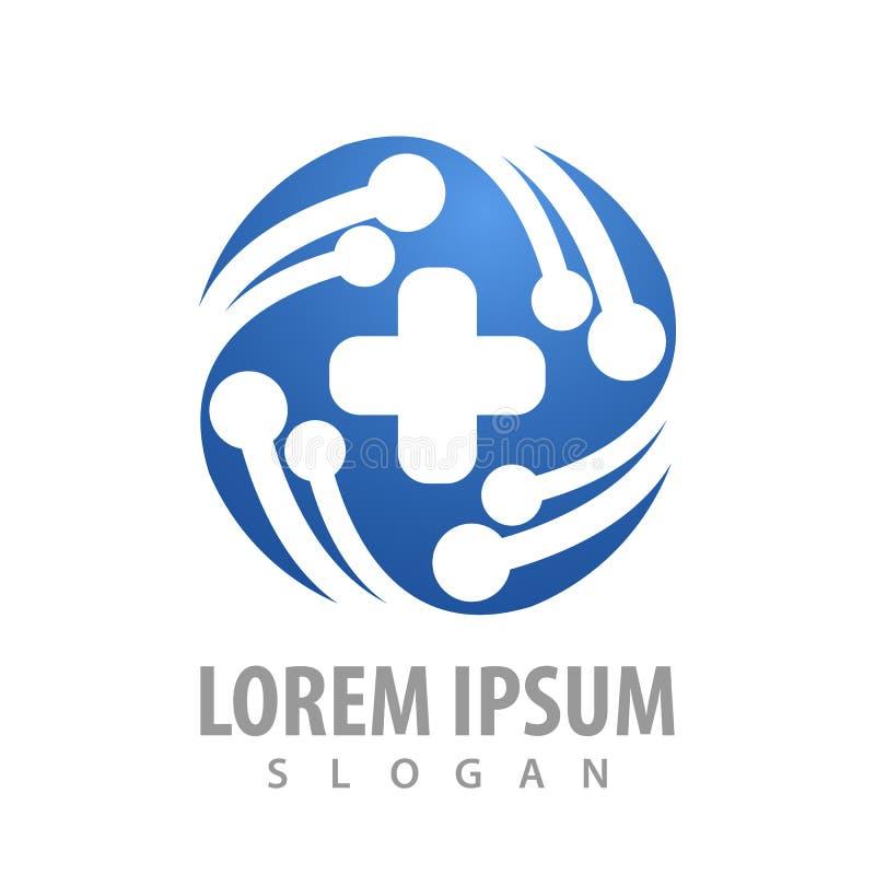 technologia okręgu krzyża logo pojęcia projekt Symbolu szablonu elementu graficzny wektor ilustracji