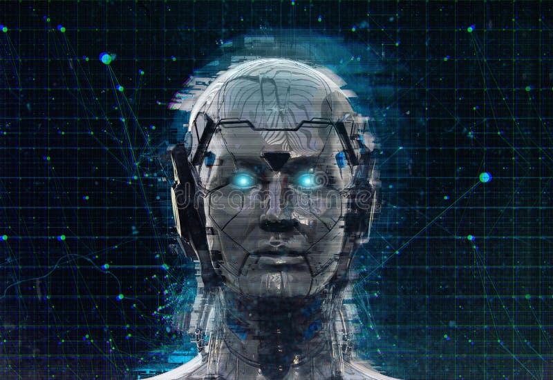 Technologia robota fantastyka naukowa kobiety cyborga androidu tło - Humanoid Sztuczna inteligencja wallpaper-3D odpłaca się ilustracja wektor