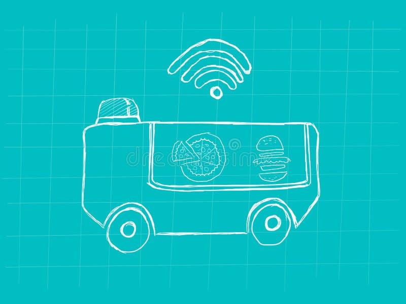 Technologia robota pojęcia karmowa doręczeniowa ilustracja z karmową ciężarówki i sygnału prętową ikoną royalty ilustracja