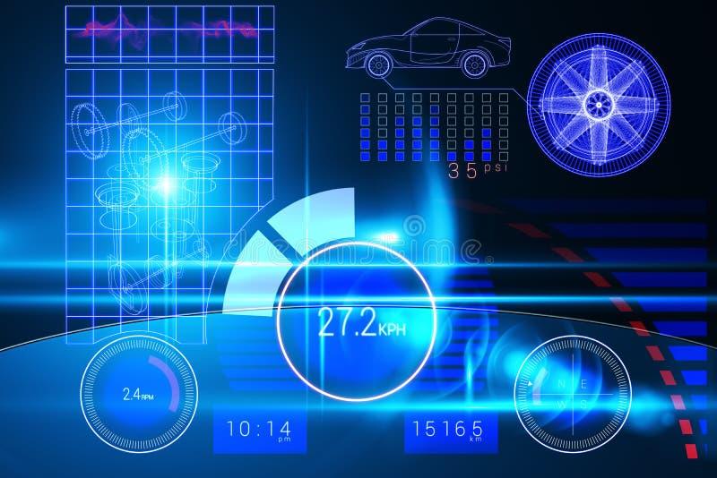 Technologia samochodu interfejs ilustracji