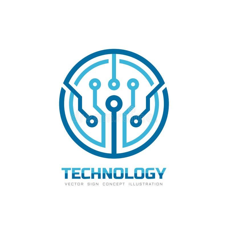 Technologia - wektorowy loga szablon dla korporacyjnej tożsamości Abstrakcjonistyczny układu scalonego znak Sieć, internet techni ilustracji