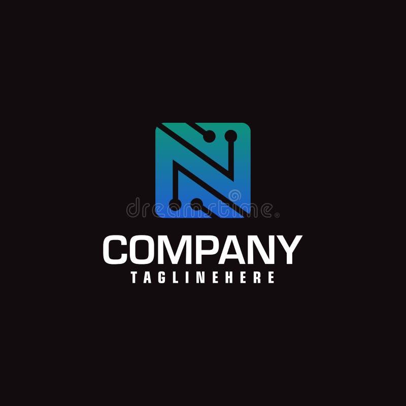 Technologia wektorowy logotyp tworzy listowego N Minimalny projekta elektrycznego obwodu deski logo ilustracji