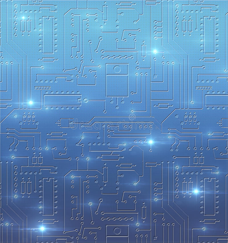 Technological abstract background with blue circuit board royalty free stock photography