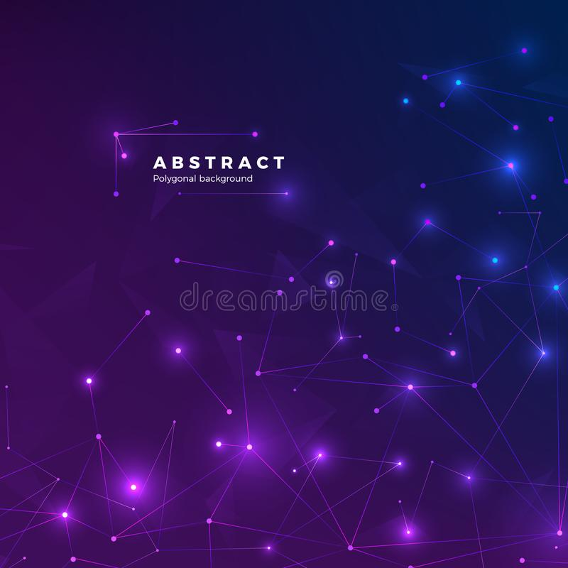 Technological abstract background. Particles, dots and connected by lines. Low polygonal texture. Vector. Illustration blue and purple backdrop stock illustration