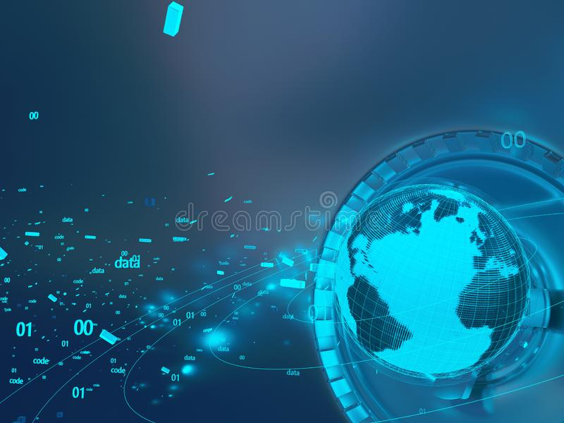 Technological background hologram of the planet Earth royalty free illustration