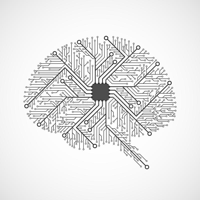 Technological brains. Circuit board. Vector background royalty free illustration