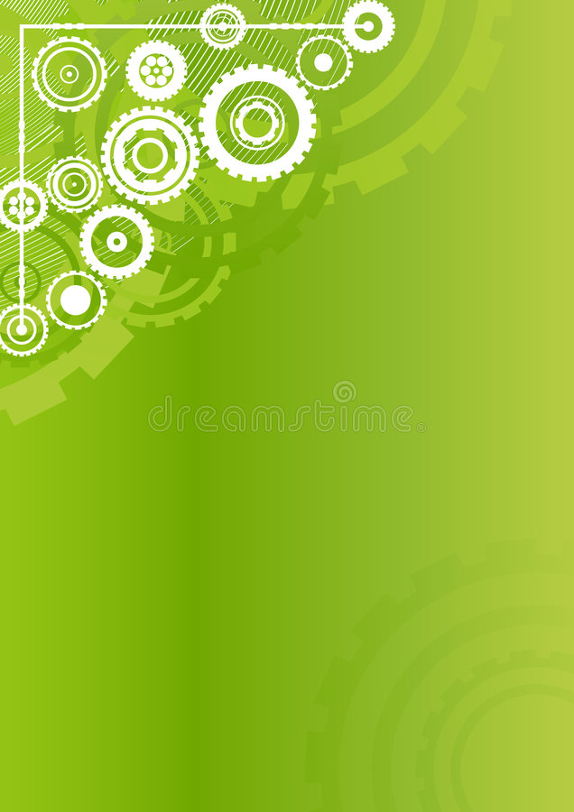 Technological clockwork green vertical background vector illustration