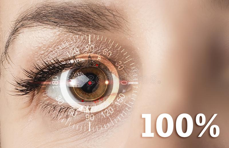 Technological concept, one hundred percent recovery of vision. Contact lenses. royalty free stock images