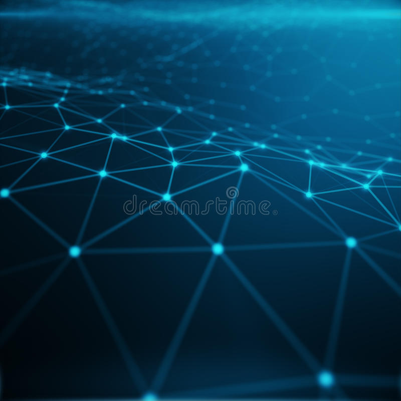 Technological connection in cloud computer, blue dot network, abstract background, Concept of Network Representing. Internet Connections 3D rendering royalty free illustration