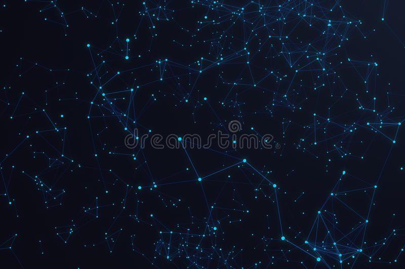 Technological connection futuristic shape, blue dot network, abstract background, blue background, Concept of Network. Internet communication, 3D rendering vector illustration