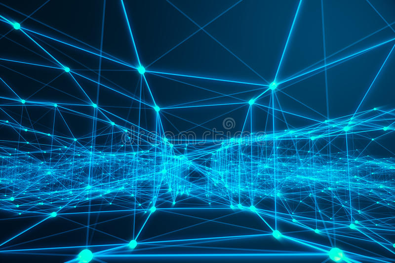 Technological connection futuristic shape, blue dot network, abstract background, blue background, Concept of Network. Internet communication, 3D rendering