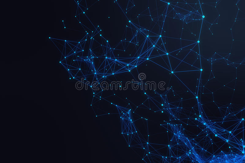 Technological connection futuristic shape, blue dot network, abstract background, blue background 3D rendering. Technological connection futuristic shape, blue vector illustration