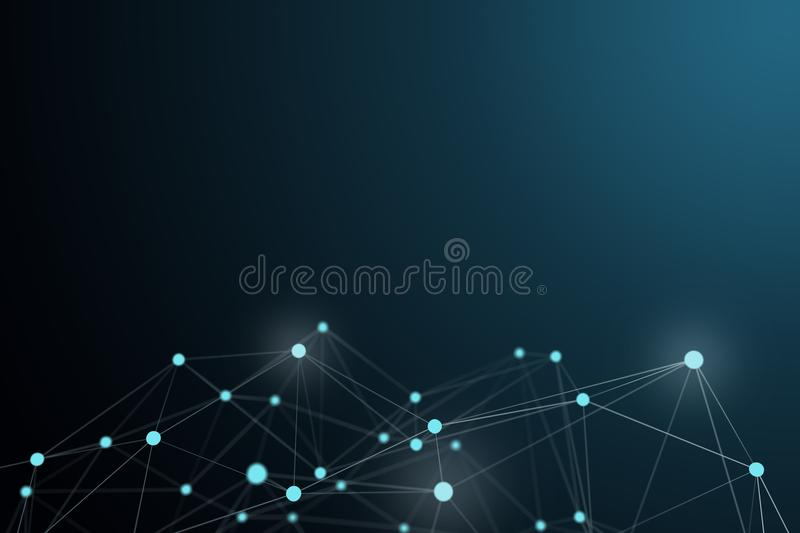 Technological connection futuristic shape, white dot network, 3D rendering vector illustration