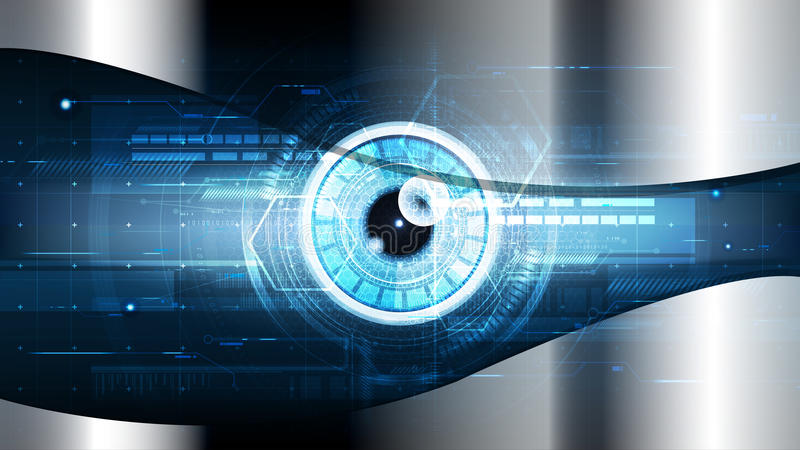 Technological cybersecurity eye scanning identification vector b vector illustration