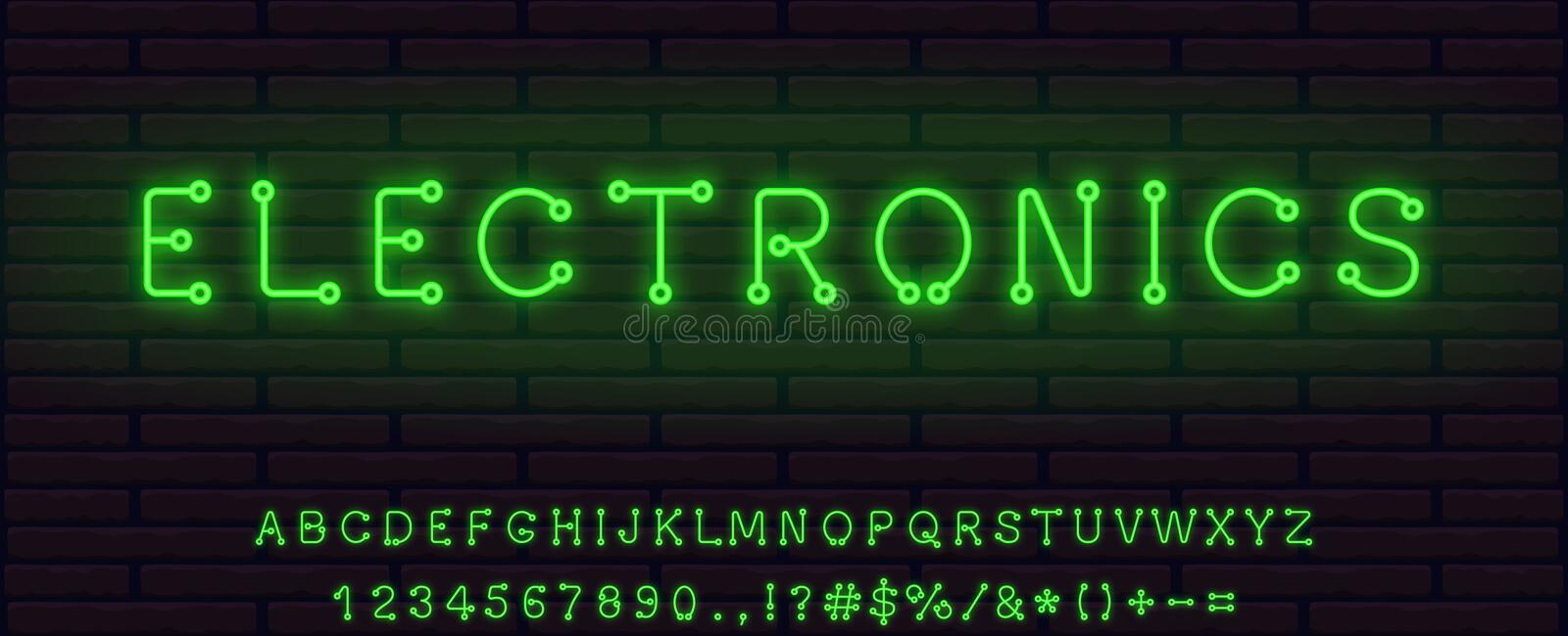Technological electronic style green color neon font set. collection of letters numerals signs icons symbols. Realistic technological electronic style green stock illustration