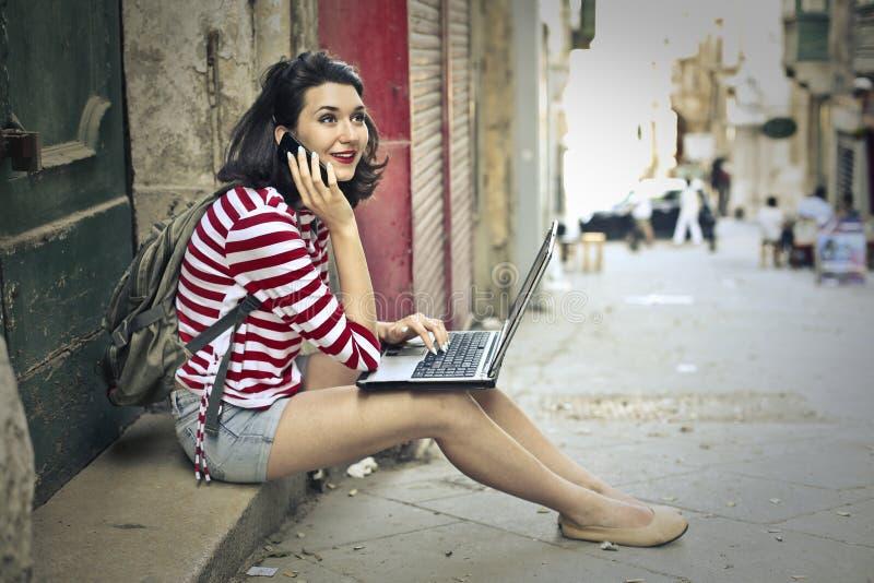 Technological girl stock photography