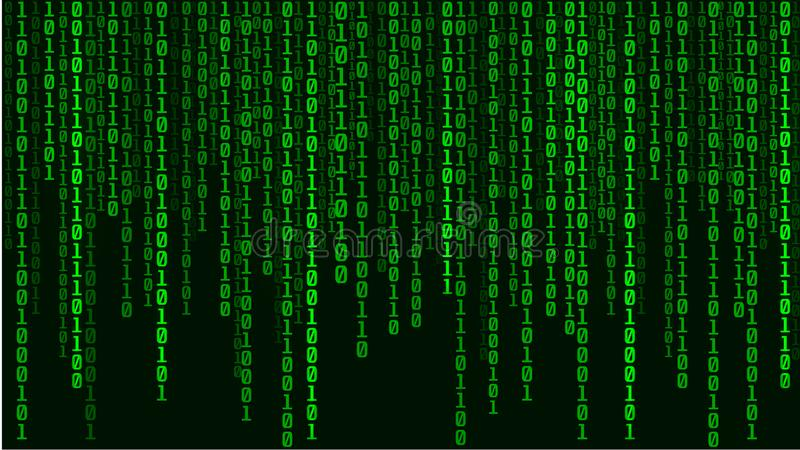 Technological green matrix of zeros and ones. Binary computer code. Abstract digital background. Vector Illustration. Green matrix of zeros and ones. Binary vector illustration
