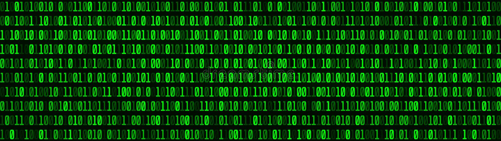 Technological green matrix of zeros and ones. Binary computer code. Abstract digital background. Vector Illustration. Green matrix of zeros and ones. Binary royalty free illustration