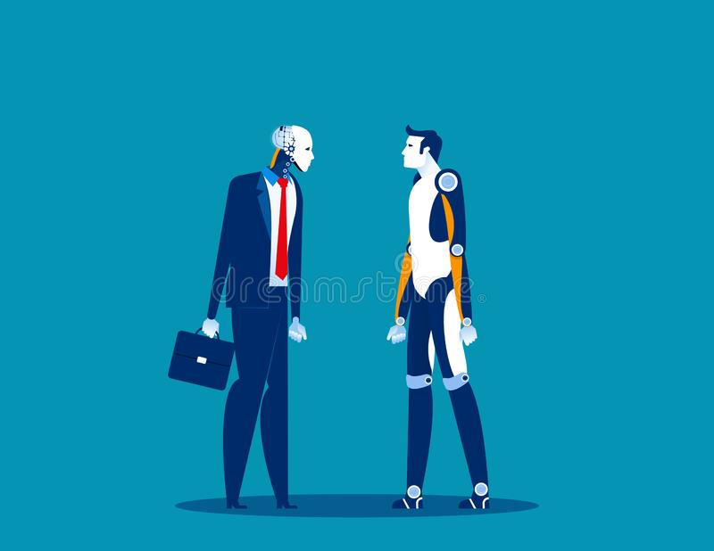 Technological innovation. Concept business vector, Future, Robot, Human. Flat cartoon design stock illustration